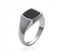 Signet - Black Square - Silver Ring