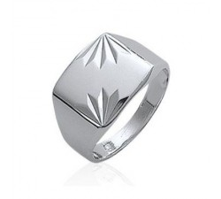 Signet - Chiseled Rectangle - Silver Ring
