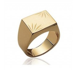 Signet - Chiseled Rectangle - Gold-Plated Ring