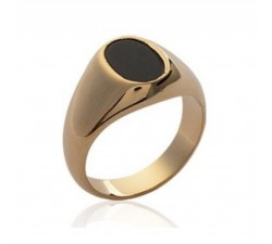 Signet - Black Oval - Gold-Plated Ring