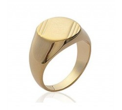 Signet - Striated - Gold-Plated Ring