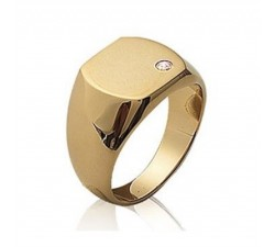 Signet - Zirconia - Gold-Plated Ring