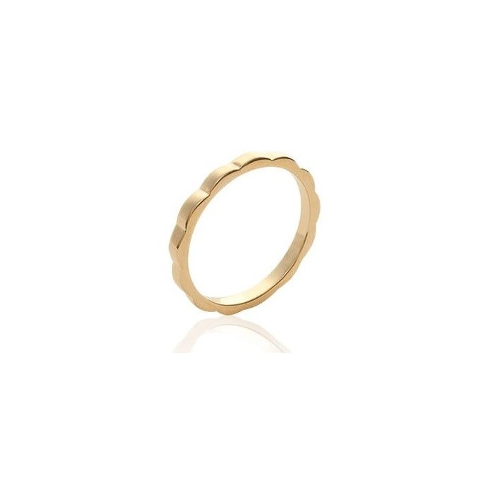 Beads and Waves - Gold-Plated Ring