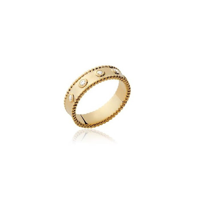 Beads Large Zirconia - Gold-Plated Ring