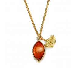 Ginkgo - Amber & Gold-Plated - Necklace - Natalex