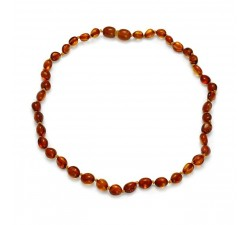 Baby - Cognac Smooth Amber - Teething Necklace -...
