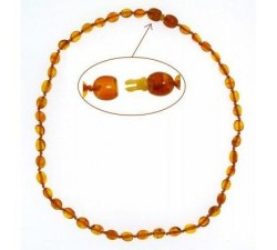 Baby - Cognac Smooth Amber - Teething Necklace -...-alt