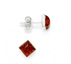 Stud - Square - Amber & Silver - Earrings - Natalex