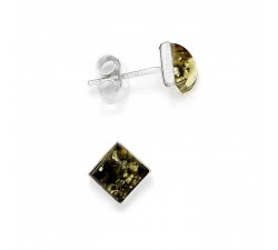 Stud - Square - Green Amber & Silver - Earrings -...