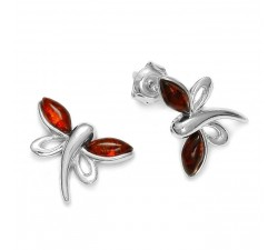 Dragonfly - Amber & Silver - Earrings - Natalex