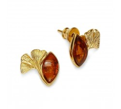 Ginkgo - Amber & Gold-Plated - Earrings - Natalex