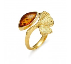Ginkgo - Amber & Gold-Plated - Ring - Natalex