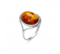 Cabochon - Large - Amber & Silver - Ring - Natalex