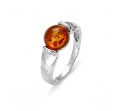 Modern Solitaire - Amber & Silver - Ring - Natalex