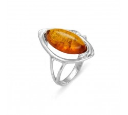 Oval - Amber & Silver - Ring - Natalex