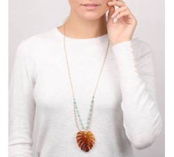 Garden City - Brown Leaf Long Necklace - Nature Bijoux-alt