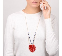 Garden City - Red Leaf Long Necklace - Nature Bijoux-alt