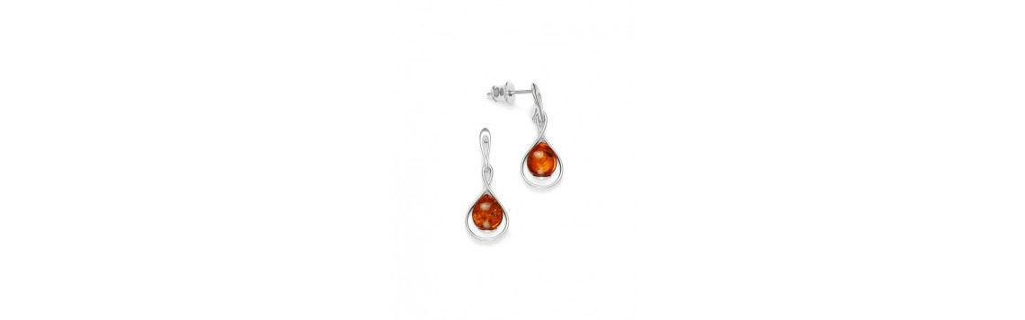 Earrings with Baltic amber stones - Azuline